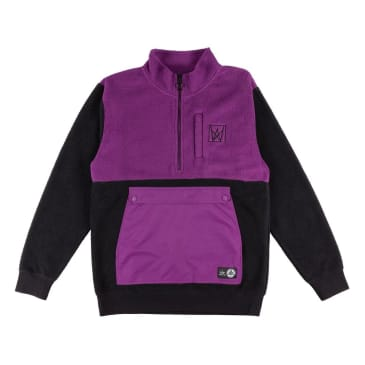 WELCOME Icon Half Zip Sherpa Fleece Jacket Purple/Black
