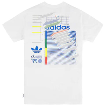 adidas Dodson T-Shirt - White / Blue / Green / Real Coral