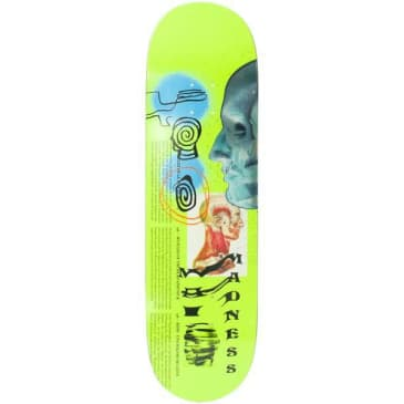 Madness Skinned R7 Neon Yellow Skateboard Deck - 8.75