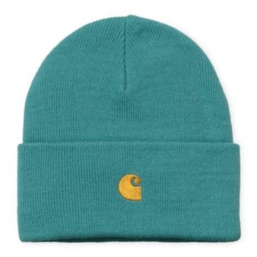 Carhartt WIP Chase Beanie - Frosted Turquoise/Gold