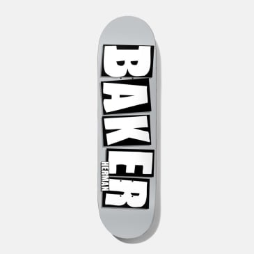 Baker Skateboards Herman Brand Name Skateboard Deck Grey/White - 8.5""
