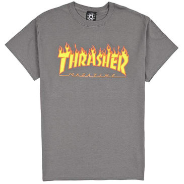 THRASHER FLAME LOGO TEE - GRAY