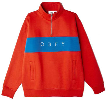 OBEY Ian Mock Neck Zip Sweater - Chili Red