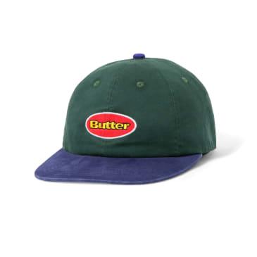 "BUTTER GOODS- ""BADGE 6 PANEL CAP"" (FOREST / BLUE)"