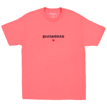 Pleasures Shine Embroidered T-Shirt - Coral