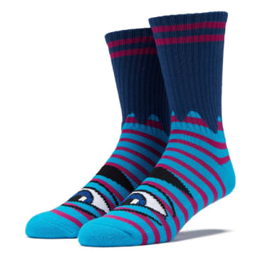 Toy Machine Sect Eye Stripe Sock (Navy/Purple)