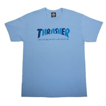 THRASHER Checkers Logo Tee Carolina Blue