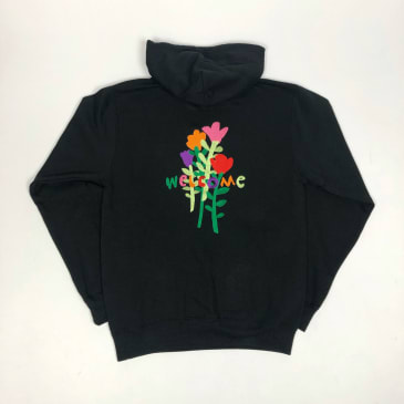 Welcome Skate Store - Big Rose Embroidered Pullover Hooded Sweatshirt - Black