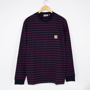 Carhartt WIP - Parker Striped Pocket Longsleeve T-Shirt - Dark Navy / Boysenberry