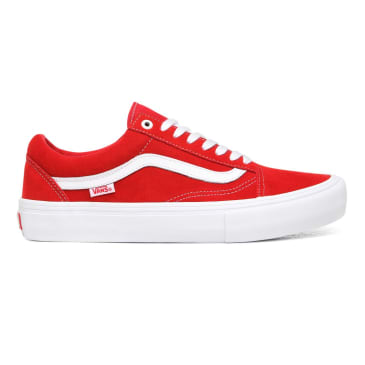 Vans Suede Old Skool Pro Skate Shoes - Red / White