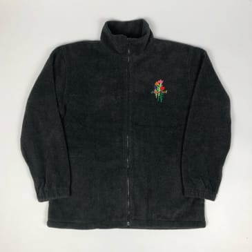 Welcome Skate Store - Rose Embroidered Zip Fleece - Oxford Grey