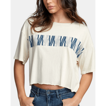 RVCA Womens VA Flow Cropped T-Shirt - Oatmeal