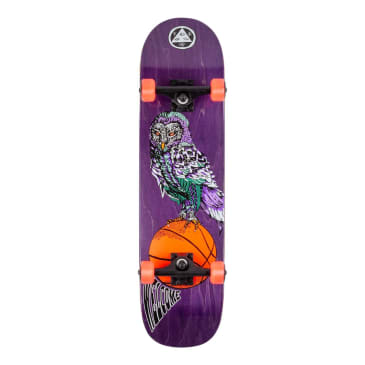 """Welcome Skateboards - 8.0"""" Hooter Shooter on Bunyip Complete Skateboard - Purple Stain"""