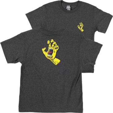 Santa Cruz Screaming Hand Youth T-Shirt (Charcoal Heather/Yellow)