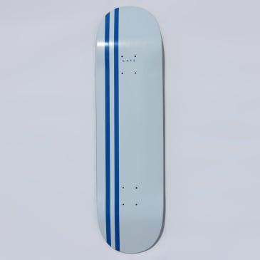 "Skateboard Cafe Stripe Skateboard Deck White / Royal - 8.38"""