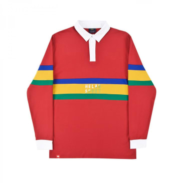 Helas Rude L/S Polo Shirt Red/White