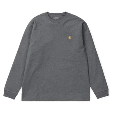 Carhartt WIP Long Sleeve Chase T-shirt - Dark Heather Grey/Gold
