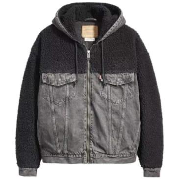 Levi's Hooded Hybrid Sherpa Trucker Jacket - Cuddles (Black)