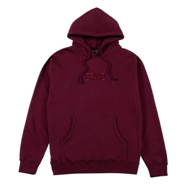 Grand Collection Tonal Embroidered Hoodie - Burgundy