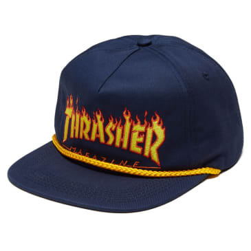 Thrasher Flame Rope Snapback Hat (Navy)