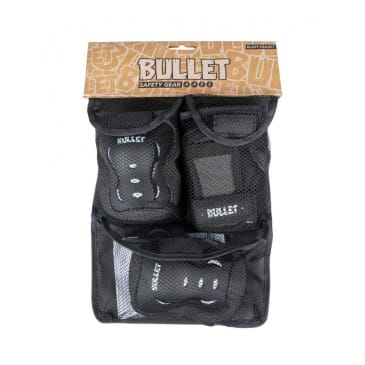 Bullet Junior Blast v2 Triple Skateboard Pad Set - Black/White