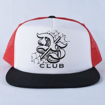 DSC TRUCKER HAT - WHITE BLACK RED