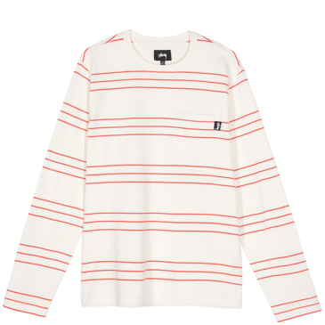 Stüssy Trinity Stripe Long Sleeve Crew - Natural