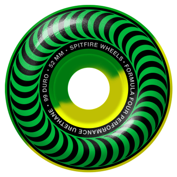 Spitfire Wheels - Spitfire Formula Four Classic 50 50 Swirl 99 Green & Yellow Wheels | 52mm