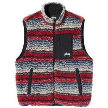 Stüssy Striped Sherpa Vest - Multi