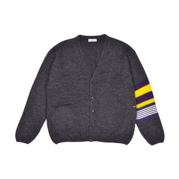 Pop Trading Company Captain Knitted Cardigan - Anthracite