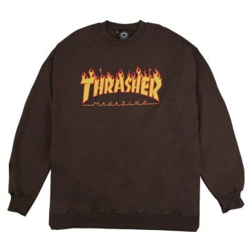 THRASHER FLAME LOGO CREWNECK - BROWN