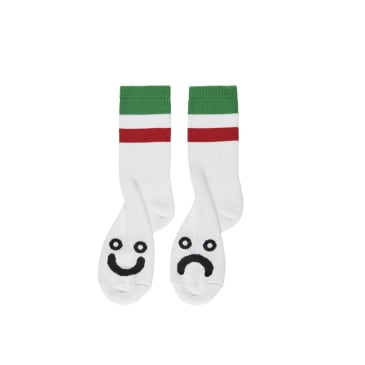 Polar Skate Co Happy Sad Socks Stripes - White / Green / Red