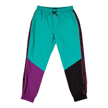 Welcome Skateboards Athlete Woven Nylon Wind Pants - Teal / Black / Purple