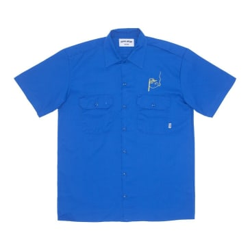Fucking Awesome Block Letters Short Sleeve Work Shirt - Royal Blue