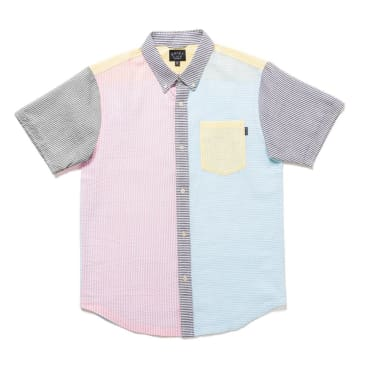 The Quiet Life Patchwork Seersucker Short Sleeve Shirt - Pink / Blue / White