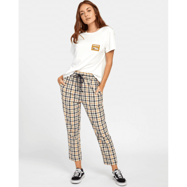 RVCA Womens Tetras Plaid High Rise Pant oatmeal medium