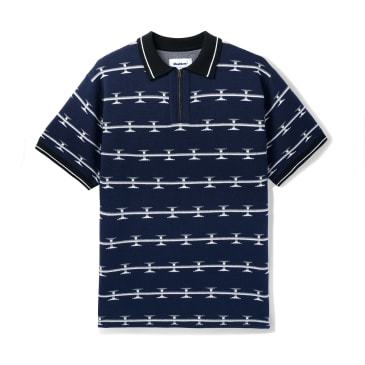 "BUTTER GOODS- ""RAZOR ZIP POLO SHIRT"" (NAVY)"