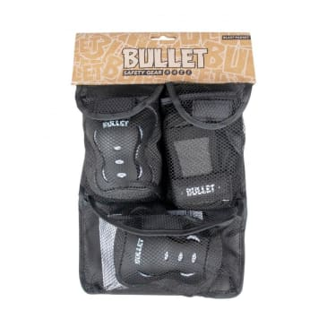 Bullet Junior Black v2 Triple Skateboard Pad Set - Black/Pink