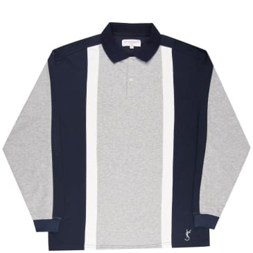 Yardsale Orleans Long Sleeve Polo - Athletic Grey / Navy / White