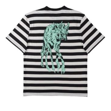 Welcome Maned Woof Yarn-Dyed Short Sleeve Knit T-Shirt - Black-Bone-Teal