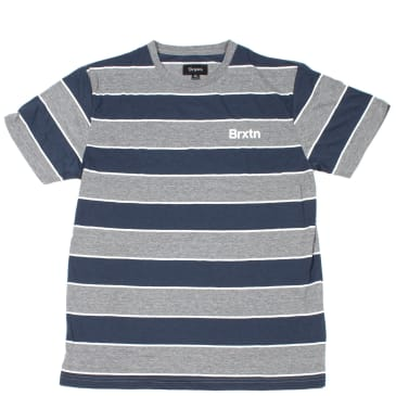 Brixton Hilt Print Knit T-Shirt - Grey / Navy