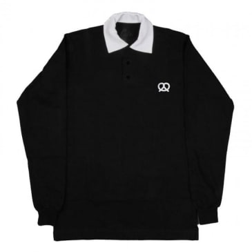 Skateboard Cafe Embroidered Pretzel Longsleeve Polo Shirt - Black