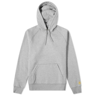 Carhartt WIP Chase Hooded Sweatshirt - Grey Heather / Gold