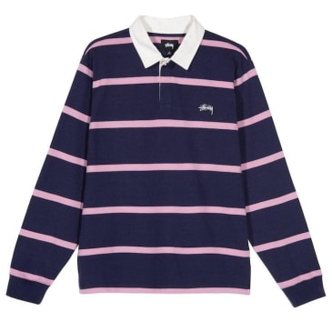 Stussy Hill Stripe L/S Rugby Shirt Navy