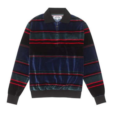 Fucking Awesome Block Stripe Velour 1/4 Zip - Black/Blue/Red