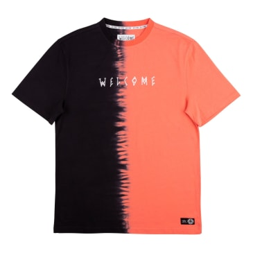 Welcome Skateboards Chimera Dip Dyed Knit T-Shirt - Coral / Black