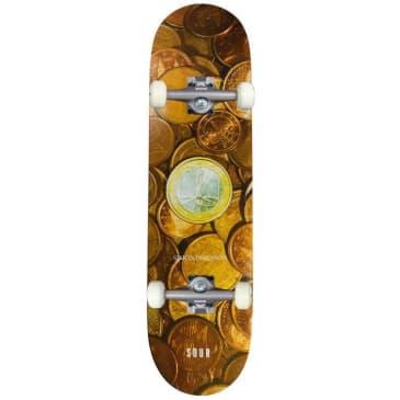 "Sour Solution Simon 'Coins' Complete Skateboard 8.25"""