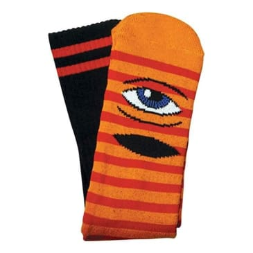 Toy Machine Sect Eye Stripe Crew Socks (Red/Orange)