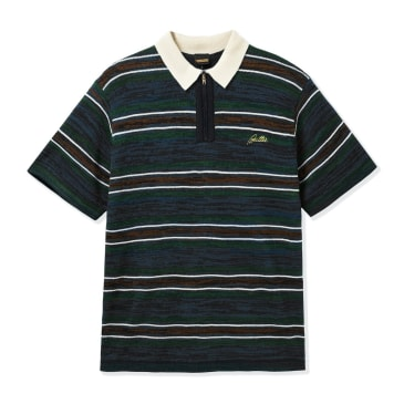 Butter Goods Schmidt Zip Polo Shirt - Navy / Forest / Brown