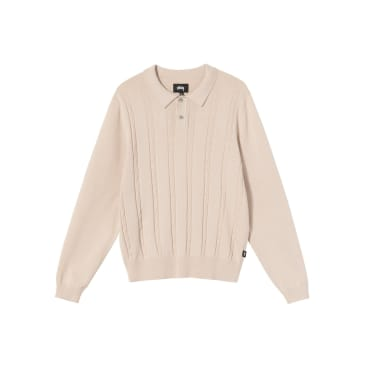 Stüssy - Chain L/S Knit Polo - Bone
